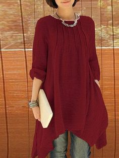 Women Long Sleeve Pure Color  Asymmetrica Loose Shirts Cheap - NewChic Mobile.