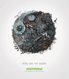 Print ad: Greenpeace India: Yin Yang - Water #greenpeace #mccann #advertising #Land #Water #Air #save #savetheenvironment #illustration #lineart #drawing #watercolor #watercolor #retouching #theleapsingh #dalipsingh #forests #saveforests #birds #vegetation #pollution #landpollution #airpollution #factories #publicservicead #trees #war #factorysmoke #factories #traffic #trafficjam #nucleartest #savepanda #savethearctic #savenature #deforestation #savewildlife