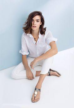 White on white. White boyfriend shirt worn with denim crops. #whiteonwhite #denim