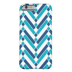 Modern Chevron Diamond Blue and Turquoise Barely There iPhone 6 Case