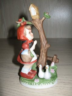 Items similar to Ceramic Statue Figurine Girl With Ducks Standing By Bird House on Etsy Precious Moments Figurines, Vintage Pottery, Leaf Design, Makers Mark, Trinket Boxes, Colored Diamonds, Ducks, Candlesticks, Antique Gold