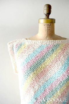 Vintage 1980s diagonal knit pastel stripes sweater