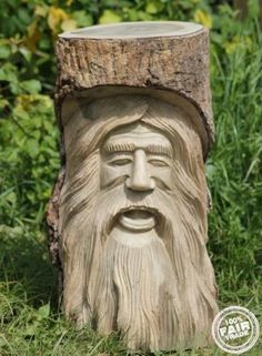 Solid Wooden Green Man Tree Trunk Statue - Stool 50x20Cm