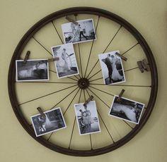 portafoto a muro con ruota di bici