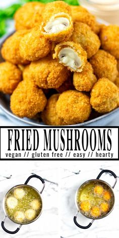 These fried mushrooms are crispy, perfectly coated and simply delicious: packed with flavor, flour and breadcrumbs make them stand out and texture perfect. Easy to make with step by step pictures and naturally vegan. #vegan #dairyfree #vegetarian #dinner #lunch #appetizers #friedmushrooms #contentednesscooking