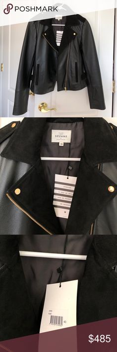 Sezane Janis Leather Motorcycle Jacket New never worn. Has tags still attached. Size 40 (France). Retails for 500€, buttery leather - perfect staple piece! Has suede details with gold accents. THE leather jacket, runs a bit small so it would be perfect for someone who's a 4-6. Sezane Jackets & Coats
