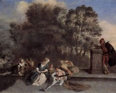 Page: Italian Recreation Artist: Antoine Watteau Completion Date: Style: Rococo Genre: pastorale Technique: oil Material: canvas Dimensions: 71 x 94 cm Gallery: Schloss Charlottenburg, Berlin, Germany Action Painting, Hand Painting Art, House Painting, Jean Antoine Watteau, Pop Art, Baroque Art, Painting People, Art Database, Oil Painting Reproductions