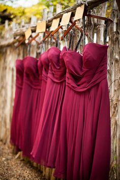 Wine coloured bridesmaids dresses by Bill Levkoff