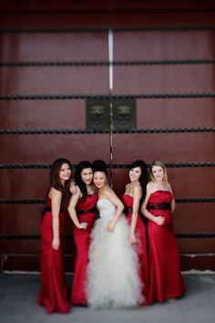 Gorgeous red bridesmaid dresses at this elegant wedding in Xi'an China, photos by Chris+Lynn Photography   junebugweddings.com