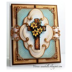 "Yvonne Hagane created this card using Serendipity Stamps ""Cross With Lilies"" stamp"