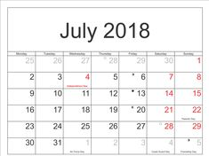 Here you will get July Calendar 2018 In Pdf, Word, Excel Format, Blank Calendar for your personal & office use at free of cost from our website. Pdf Calendar, 2018 Printable Calendar, July Calendar, Philippines, South Africa, Canada, Holidays, Landscape, Usa