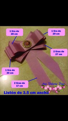 Corbatin Tie Crafts, Ribbon Crafts, Ribbon Art, Ribbon Bows, Fabric Bows, Fabric Flowers, Women Bow Tie, Barrettes, Bow Tutorial