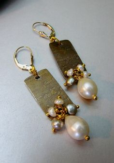 Beautiful Etched Brass Earrings with Natural Pearls by pmdesigns09, $49.00