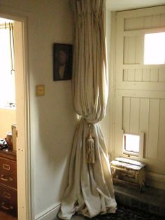 painter's drop cloth curtains | draft curtain by the front door, made from painter's ... | House St ...