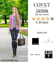 Girlfriend @covetfashion #covet #covetfashion #coveyfashionapp #fashion #womensfashion #covetfall2015 #fall2015 #girlfriend #DolceVita #DL1961 #ThreeDots #SoleilCashmere #frye