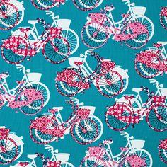 Cotton Bike Be Happy 2 - Cotton - turquoise blue