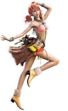 Oerba Dia Vanille: Final Fantasy XIII. Uses a rod with wired hooks as a weapon. Specializes in elemental magic, healing, and debilitation spells. Enthusiastic and optimistic, she keeps the party's spirits strong.