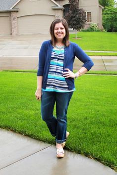 My New Favorite Outfit Love the stripes and the colors turquoise and navy
