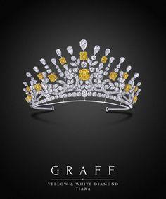 Graff Diamonds: Yellow and White Diamond Tiara A diamond tiara, drawing influence from baroque motifs, with swirling flourishes of vibrant yellow and white diamonds. Graff Jewelry, Royal Jewelry, High Jewelry, Jewelery, Yellow Jewelry, Diamond Tiara, Royal Tiaras, Colored Diamonds, White Diamonds