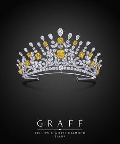 Graff Diamonds: Yellow and White Diamond Tiara A 177.64ct diamond tiara, drawling influence from baroque motifs, with swirling flourishes of vibrant yellow and white diamonds.