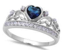 Heart Crown Ring Solid 925 Sterling Silver 0.74 Carat Heart Shape Deep Blue Sapphire CZ Round Russian Clear Diamond CZ King Queen Crown Ring