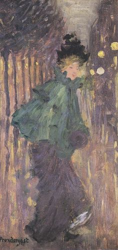 Lady on the Boulevard (The Green Cape), Maurice Prendergast