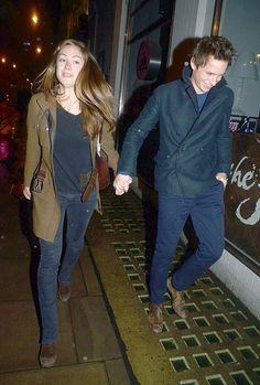 Eddie Redmayne Leads the Way For His Lady in London: Eddie Redmayne was all smiles with Hannah Bagshawe.