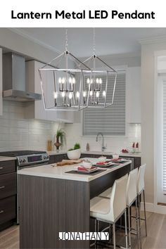 This classic lantern pendant light features a metal caged frame of negative space with exposed bulbs that illuminate from within the center. The shape of the fixture is inspired by iconic street oil lanterns. #JonathanY #HomeDecor #Lamps #DesignerLamps #Lantern Kitchen Lighting Design, Kitchen Design, Kitchen Ideas, Beautiful Kitchens, Beautiful Interiors, Classic Lanterns, Lantern Pendant Lighting, Negative Space, Rustic Interiors