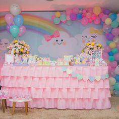 Ideas For Baby Shower Decoracion Arcoiris Girl Birthday Decorations, Girl Birthday Themes, Rainbow Birthday Party, Unicorn Birthday Parties, Baby Birthday, First Birthday Parties, Baby Shower Decorations, First Birthdays, Baby Party