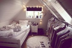 attic bedroom, white, christmas lights, wardrobe
