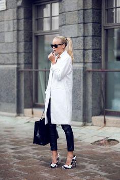 white coat and black pants
