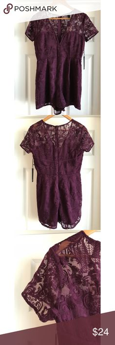 Forever 21 Dark purple lace romper This is a beautiful dark purple lace/embroidered romper. Zipper in the back with a hook and eye closure. New with tags. Size is Large but it's on the small side (more like Junior's Large). So pretty but too small for me!  Feel free to ask any questions or make offers. Thank you for visiting my closet 😊 Forever 21 Pants Jumpsuits & Rompers