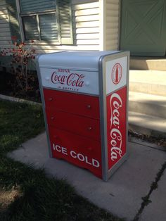 "Coca cola ""coke"" dresser. DIY tutorial here. Furniture upcycle, 30's waterfall dresser made to look like vintage soda machine. http://2spruceup4me.blogspot.com/2015/04/coke-dresser.html"