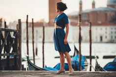 """""""Burano"""" """"Cotton threads, skillful hands, delicacy and strength... Dance together and make me a queen.""""  #lilycorall #sheathdress #bluedress #buranolace #fashionss18 #Vneck #elegance #evening"""
