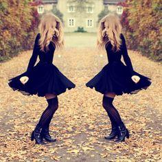 Long sleeve, Winter little black dress. Looks like an ice skater retro / vintage style dress! Love!!