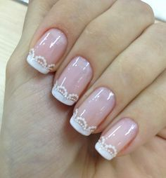 nail art mariage déco ongles avec French manucure