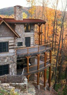 Winterwoods Luxury Log and Timber Frame Homes. Another one that reminds me of the double decks at Mohonk Mountain House