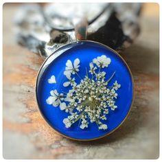 """Kette """" blue love"""" echte Wilde Möhre Blüten von Kiezelfen *Schmuck"""