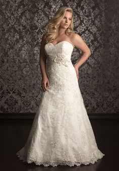 Destination Sheath/ Column Floor Length Sweetheart Lace Empire Plus Size Wedding Dress - 1300103626B - US$259.99 - BellasDress