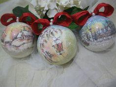 decorazioni natalizie , decoupage pittorico