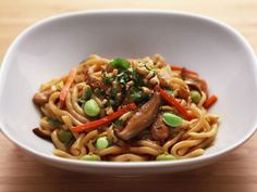 Chicken and Vegetable Stir-Fry with Udon Noodles recipe from Anne Burrell via Food Network