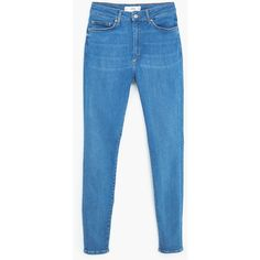 MANGO Super Slim-Fit Andrea Jeans ($80) ❤ liked on Polyvore featuring jeans, medium blue, blue jeans, faded jeans, 5 pocket jeans, zipper jeans and highwaisted jeans