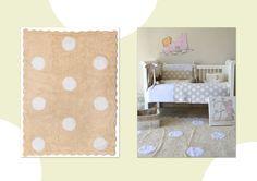 Serie topos de Aratextil. Se encuentran en beige, celeste, rosa, gris