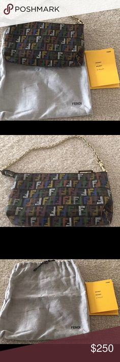 Authentic Fendi Monogram Multicolor Bag This signature Fendi Monogram multicolor Zucchino print Canvas Small Pouch Bag is durable textured coated canvas with a chain strap. Come as with a dust bag.  The exterior is clean and beautiful throughout with some slight signs of wear .The chain link strap has some scratches as well as the zipper pull. Please check the pictures and let me know if you have any questions. Fendi Bags Shoulder Bags