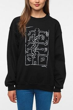 Junk Food Keith Haring Black & White Sweatshirt - Urban Outfitters