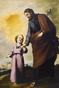 Bartolomé Esteban Murillo SEVILLE 1618 - 1682 SAINT JOSEPH WITH THE CHRIST CHILD oil on canvas