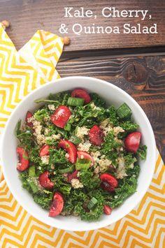 Take advantage of cherry season and make this delicious Kale, Cherry, and Quinoa Salad