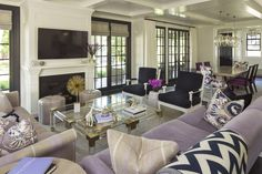 Hamptons Glam | Martha O'Hara Interiors - I like the lilac with the contrasty window treatment. I'd use some brighter touches of purple in addition.