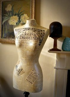 BEAUTIFUL DECOUPAGED VINTAGE MANNEQUIN FRENCH PAPERS DRESS FORM DISPLAY | eBay