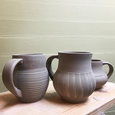 A couple more #mugs. I ended up only handling 3 of the 6 I threw. #clay #pottery #ceramic #wheelthrowing #handmade #art